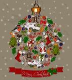 Bola do Natal feita das decorações. Fotos de Stock