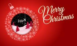 Bola do Natal feita dos flocos de neve com uma imagem dentro dos wi da noite Imagem de Stock