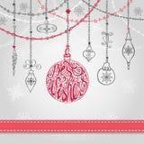 Bola do Natal, festões no cartão greating ilustração royalty free