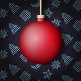 Bola do Natal no fundo com elementos do ano novo Fotos de Stock Royalty Free