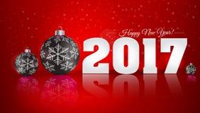 Bola do Natal no fundo do inverno com neve e flocos de neve Imagens de Stock