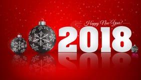 Bola do Natal no fundo do inverno com neve e flocos de neve H Imagens de Stock