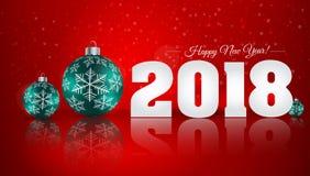 Bola do Natal no fundo do inverno com neve e flocos de neve H Imagens de Stock Royalty Free