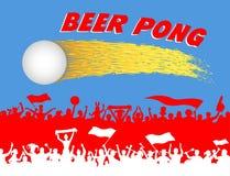 Bola do pong da cerveja e silhuetas dos suportes Imagem de Stock Royalty Free