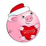 Bola do porco com coração vermelho ilustração royalty free