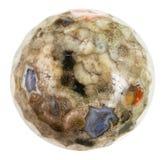 Bola do Rhyolite verde de Madagáscar isolado Fotografia de Stock Royalty Free