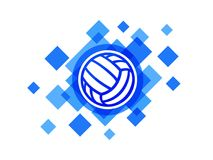 Bola do voleibol no ícone abstrato azul do vetor do fundo Bola de polo aquático Fotografia de Stock Royalty Free