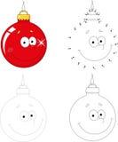 Bola dos desenhos animados do Natal Ponto para pontilhar o jogo para crianças Fotos de Stock