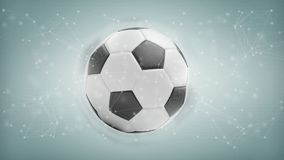 Bola e conexão do futebol isoladas em um renderi do fundo 3d Imagens de Stock