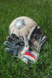 Bola e luva na grama Fotografia de Stock Royalty Free