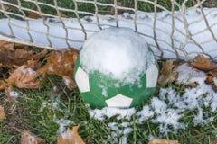 Bola e rede de futebol verde coberto de neve entre as folhas de outono Imagens de Stock