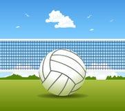 Bola e rede do voleibol Fotos de Stock Royalty Free