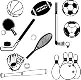 Bola e vetor dos ícones do esporte ilustração royalty free