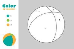 Bola en el estilo de la historieta, color por el número, juego del papel de la educación para el desarrollo de niños, página que  stock de ilustración