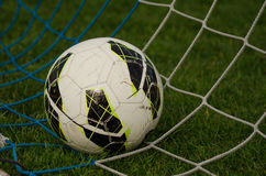 Bola en la red Fútbol imagenes de archivo