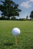 Bola en verde con el golfista Imagenes de archivo