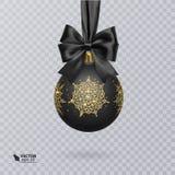 Bola enegreça, do Natal decorada com uma curva preta realística e um brilhante, ornamento do ouro Ilustração do vetor ilustração royalty free