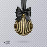 Bola ennegrézcase, de la Navidad adornada con un arco negro realista y un brillante, ornamento del oro Ilustración del vector fotografía de archivo