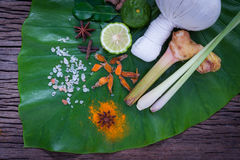Bola erval da compressa para o tratamento tailandês da massagem e dos termas popular Imagens de Stock Royalty Free