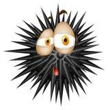 Bola espinosa negra con la cara triste ilustración del vector