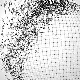 Bola explodida da grade feita de pontos conectados Fotografia de Stock Royalty Free