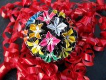 Bola florido do papel da medicina do origâmi de Kusudama foto de stock