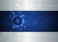 Bola futurista abstracta del ojo del vector con la placa de circuito Imagen de archivo