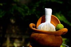 Bola herbaria de la compresa para el tratamiento del balneario Imagenes de archivo