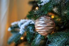 Bola hermosa en el árbol de navidad Fondo ` S del Año Nuevo y Imagen de archivo libre de regalías