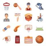 Bola, jogo, esporte, aptidão e outros ícones do basquetebol Os ícones ajustados da coleção do basquetebol no estilo dos desenhos  Fotos de Stock