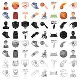 Bola, jogo, esporte, aptidão e outros ícones do basquetebol Os ícones ajustados da coleção do basquetebol no estilo dos desenhos  Fotografia de Stock