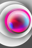 Bola mágica colorida dentro de las superficies blancas del círculo stock de ilustración
