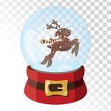 Bola mágica de cristal de la Navidad con los ciervos de Santa Claus Esfera de cristal transparente con los copos de nieve Ilustra stock de ilustración