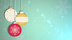 Bola móvil animada de la chuchería que cae abajo placeholder estacional festivo de la celebración del Año Nuevo de la Navidad stock de ilustración