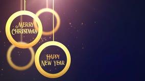 Bola móvil de oro de la chuchería que cae abajo azul estacional festivo del placeholder de la celebración de la Feliz Año Nuevo d metrajes