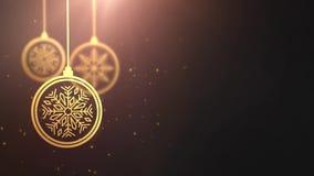 Bola móvil de oro de la chuchería que cae abajo fondo estacional festivo del gris del placeholder de la celebración del Año Nuevo almacen de metraje de vídeo