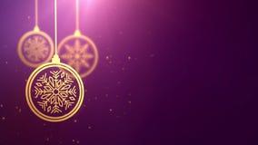 Bola móvil de oro de la chuchería que cae abajo fondo estacional festivo del rosa del placeholder de la celebración del Año Nuevo metrajes