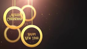 Bola móvil de oro de la chuchería que cae abajo gris estacional festivo del placeholder de la celebración de la Feliz Año Nuevo d almacen de metraje de vídeo