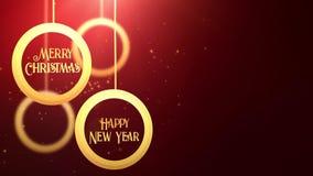 Bola móvil de oro de la chuchería que cae abajo rojo estacional festivo del placeholder de la celebración de la Feliz Año Nuevo d almacen de video