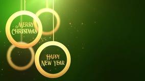 Bola móvil de oro de la chuchería que cae abajo verde estacional festivo del placeholder de la celebración de la Feliz Año Nuevo  metrajes
