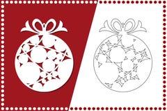 Bola moderna de la Navidad El juguete del Año Nuevo para el corte del laser Ilustración del vector stock de ilustración