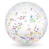 Bola musical con las notas coloridas ilustración del vector