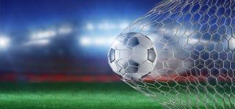 Bola na rede de um objetivo - do futebol rendição 3d Foto de Stock