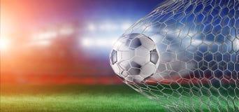 Bola na rede de um objetivo - do futebol rendição 3d Fotografia de Stock