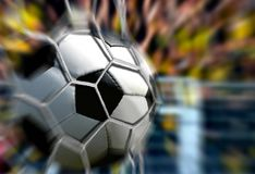 Bola na rede do objetivo com movimento rápido do borrão Imagens de Stock