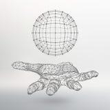 Bola no braço A mão que guarda uma esfera Fotografia de Stock