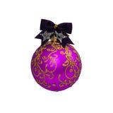 Bola púrpura de la Navidad aislada en Año Nuevo del fondo blanco Foto de archivo libre de regalías