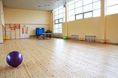 Bola púrpura en gimnasia vacía Foto de archivo libre de regalías
