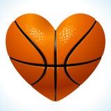 Bola para el baloncesto en la dimensión de una variable del corazón Foto de archivo libre de regalías