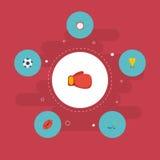 Bola plana de los iconos, trofeo, Puck And Other Vector Elements El sistema de símbolos planos de los iconos de la actividad tamb libre illustration